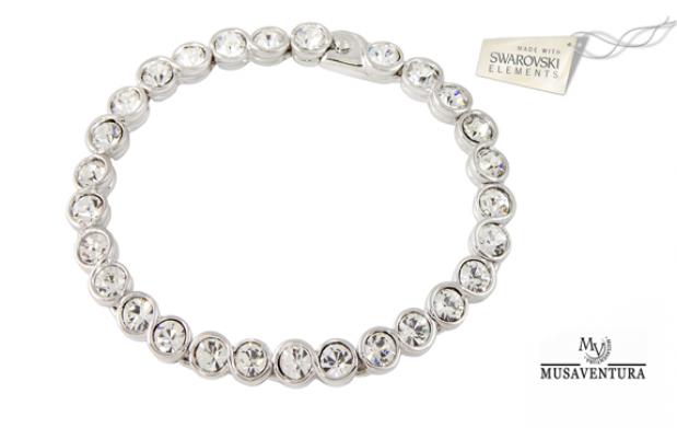 Pulsera chapada oro blanco 18k con Cristales de Swarovski Elements