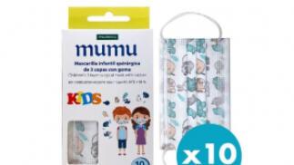 Caja de 10 unidades de Mascarillas de Colores MUMU, quirúrgicas con 3 capas para niño o adulto