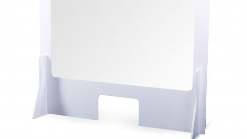 Mampara de cartón: atención al cliente