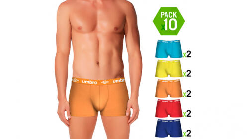 Pack de 10 boxer Umbro de colores