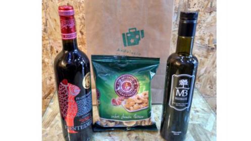 Pack productos delicatessen de Granada: botella de vino + botella de aceite