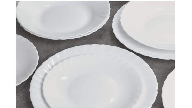 Vajilla Prima, Servicio de mesa de 18 piezas, ópalo, blanco