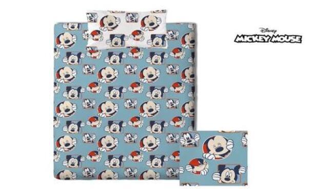 Ropa de cama infantil de Mickey Mouse en azul, 2 piezas – Almohada de 45x110 + Funda nórdica 160x240