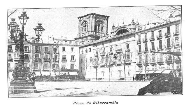 Preciosa Bandeja de madera y azulejo de la Plaza Bib-Rambla de Granada