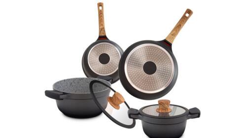 Batería 7 piezas de cocina con revestimiento de granito